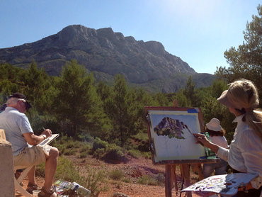Group painting the Mont St Victoire during our plein air workshops in France