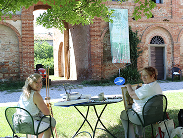 Two painters in Tuscany during our art courses in Italy