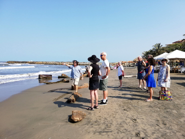 Group on the beach during our art holidays in South America