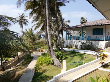 View of our beachfront hotel during our art holidays in South America