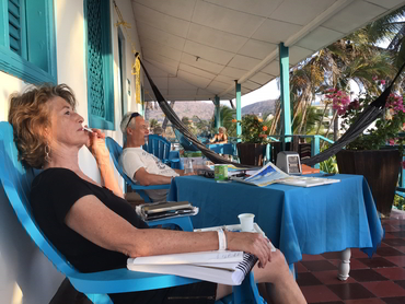 Two artists resting during our art workshop in South America