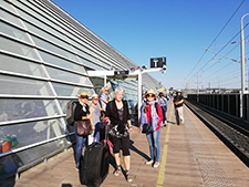 Taking a train from Avignon to Barcelona during our art workshop in France